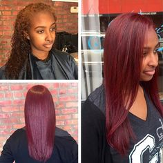 Love the hair color! Pressed Natural Hair, Dyed Natural Hair, Dyed Hair, Burgundy Natural Hair, Burgundy Hair Black Girl, Brown Hair, Weave Hairstyles, Girl Hairstyles, Straight Hairstyles