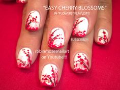 artistic nail designs | Cherry Blossom Nail Art on White