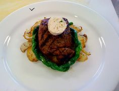 Lyonnaise Potatoes, Braided Chinese String Beans and Grilled Sirloin with a slice of Matre D Butter.