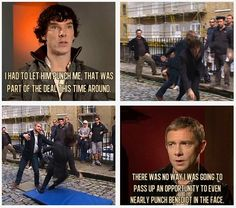 "Sherlock filming for A Scandal in Belgravia. ""There was no way I was gooing to pass up an opportunity to even nearly punch Benedict in the fact."""