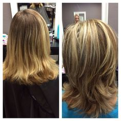 Before and after haircut and colors