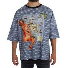Dolce & Gabbana Blue SICILY Map Print Crewneck T-shirt