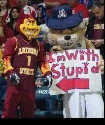 University of Arizona vs. ASU rivalry. Love you Wilbur :)