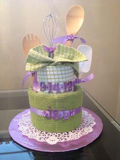 bridal shower towel cake | Tea Towel Bridal Shower Cake made by Sparkling Events by Alison ...