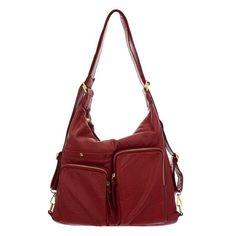 Double Zip Pocket Vegan Leather Shoulder Bag and Backpack | Rad Hippie