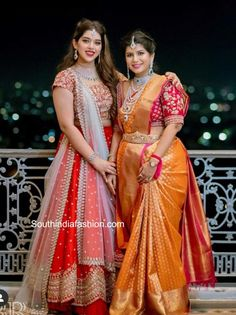 producer nikitha reddy and her daughter aadya at nithin wedding scaled e1600793350181 Half Saree Designs, Bridal Blouse Designs, Lehenga Designs, Saree Blouse Designs, Indian Dresses For Women, Indian Fashion Dresses, Bridal Sarees South Indian, Indian Sarees, Half Saree Lehenga