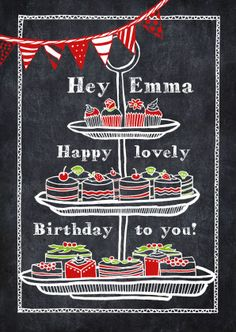 Verjaardagskaart met tekening van cupcakes en vlaggetje op een krijtbord, verkrijgbaar bij #kaartje2go voor € 0,99
