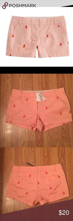 "✨J.Crew- ""Critter"" Sailboat Shorts ( Size8) NWT ✨J.Crew- ""Critter"" Sailboat Shorts ( Size8) NWT  Never worn Peach/Orange sailboat shorts. Excellent condition.  Measurements:  Size: 8 (waist) Rise:9 inches (Mid) J. Crew Shorts Bermudas"