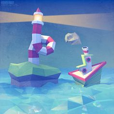 Sea scene in a semi-abstract low-polygon 3D style.    Also available as a high-quality art print (click on the image).    (http://sevensheaven.nl)