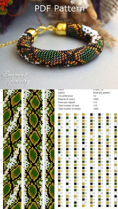 bead crochet patterns Snake beading tutorials and patterns Bead Crochet Patterns, Bead Embroidery Patterns, Bead Crochet Rope, Seed Bead Patterns, Mosaic Patterns, Color Patterns, Art Patterns, Knitting Patterns, Seed Bead Bracelets Tutorials