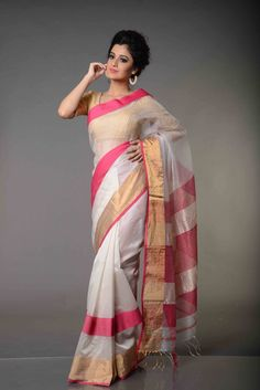 Reshma White and Red Maheshwari Silk Cotton Saree