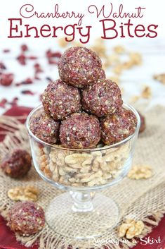 Cranberry Energy Bites with Walnuts - No Bake and only 4 ingredients! Healthy Energy Bites (low calorie) that are perfectly sweet with medjool dates and vanilla (no sugar added.) A Holiday Energy Ball that's homemade and easy! Vegan, Vegetarian, Gluten Free / Running in a Skirt #vegan #vegetarian #healthy #healthyliving #energybite #energyball