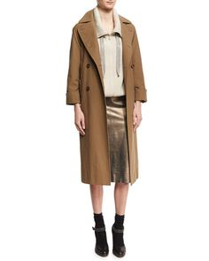 -749N Brunello Cucinelli  Cotton Canvas Double-Breasted Trenchcoat Ribbed Cashmere Zip-Front Sweater Metallic Leather Pencil Skirt, Light Brown