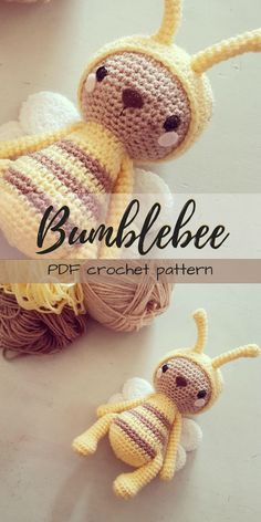 Adorable little amigurumi bumblebee toy crochet pattern to make! I love the soft yellow colour in this little bee stuffed animal! This would be an adorable handmade baby gift to make! #etsy #ad #crochet #pattern #amigurumi #stuffedanimal