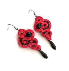 Red black earrings soutache earrings long earrings by sutaszula