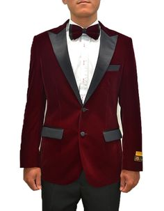 Everyone's got a little Hugh in them. So here's your change to let him out. This smoking jacket comes in a gorgeous burgundy velvet fabric, with a full black satin peak lapel. It's a modern fit, with side vents, and black satin trim on the pockets.  #BurgundyJacket #WeddingJacket #PromTux #WeddingTux #Tux #Wedding #Prom #DinnerJacket #Jacket Mens Dinner Jacket, Velvet Dinner Jacket, Wedding Tux, Wedding Jacket, Smoking Jacket, Prom Tux, Black Satin, Tuxedo, Burgundy