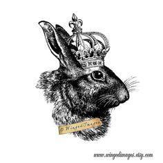 Kaninchen mit Krone. Instant Download Digital von WingedImages
