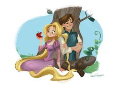 Rapunzel and Flynn - Tangled Disney Rapunzel, Tangled Rapunzel, Disney Princesses, Pascal Tangled, Pocket Princesses, Disney Magic, Disney Art, Disney Movies, Disney Characters
