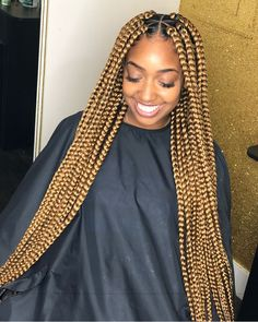23 Cool Blonde Box Braids Hairstyles to Try Long Warm Blonde Braids Jumbo Box Braids Styles, Large Box Braids, Short Box Braids, Big Braids, Braid Styles, Jumbo Braids, Afro Braids, Blonde Box Braids, Black Girl Braids