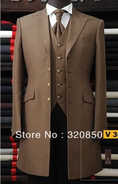 mens brown wedding suits long jacket - Google Search