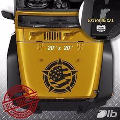 Jeep Wrangler TJ LJ JK Flag Star Vinyl Hood Decal Sticker Car Truck