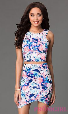 Short Two Piece Floral Print Dress at PromGirl.com