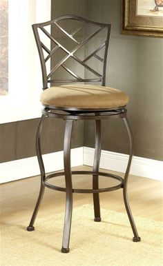 Metal Counter Stools with Backs   Metal Swivel Counter Stool with Lattice Back and Upholstered Seat ...