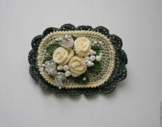 """Купить Брошь """" Розы"""" - комбинированный, бежевый цвет, мокко, бохо, винтаж, брошь, камея"""