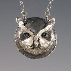 Owl Jewelry, Animal Spirit Jewelry, Handcrafted Silver Owl Pendant, Brooke Stone