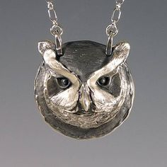 Silver Great Horned Owl pendant