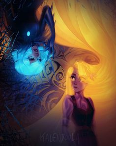 Have you missed the glow? I wanted this one to be more blue and dark but Rapunzel's hair are too much but I've accepted the fact not… Disney Rapunzel, Arte Disney, Disney Fan Art, Girl Cartoon, Cartoon Art, Disney And Dreamworks, Disney Pixar, Best Friend Drawings, Princess Art