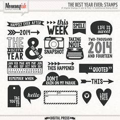 This set of 21 fun project life themed stamps will work great with any kit you own! On top of 21 stamps - each stamp has 3 versions - clean, stamp 1 & stamp 2! Be sure to check the detailed images to see. That means the set has a total of 63 stamps in abr & png format. <EOL> <EOL>Created at 300dpi
