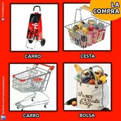 La compra 2. Imagen: Practicamos Español Spanish Teacher, Spanish Class, Teaching Spanish, Vocabulary Building, Timeline Photos, 1, The Unit, School, Grammar