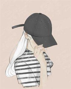 My style yoyo Art girl drawing Art And Illustration, Character Illustration, Girl Illustrations, Cartoon Kunst, Cartoon Art, Cartoon Faces, Girl Cartoon, Drawing Hats, Drawing Style