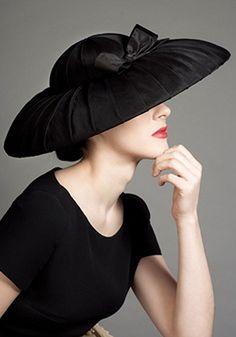 black fashion fabric hat on buckram frame #millinery #judithm #hats