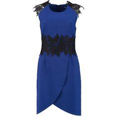 Boohoo Carmel Crochet Lace Sleeve Wrap Midi Dress | Boohoo ($44) ❤ liked on Polyvore featuring dresses, bodycon midi dress, blue sequin dress, sleeved maxi dress, blue dress and wrap dress