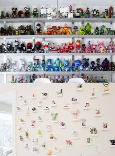 The Intentional Apartment: Integrating Your Gear, Gadgets and Sports Equipment Into Your Decor - Primer * If you have collectibles such as action figures and vinyl toys, think about displaying them in a unique way. Lots of people put them on a shelf, but not everyone organizes them by color. This interesting display technique will attract attention in and of itself. Or you could hang each and every toy on its own mini shelf… this is a good way to fill up a whole wall.