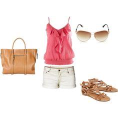 summer - Pink Shirt, White Shorts, Neutral Sandals, Aviators