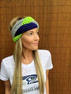 Seattle Seahawks Navy Blue Lime Green Grey Hawks Braid Head Hair Accessory Band Earwarmer Gray Headband Fashion Girl Woman Unisex Boy Men #crochet #turban