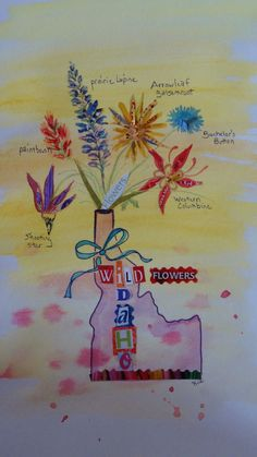 A fun card from chiquelixo.com featuring some Idaho wildflowers (collage and watercolor)
