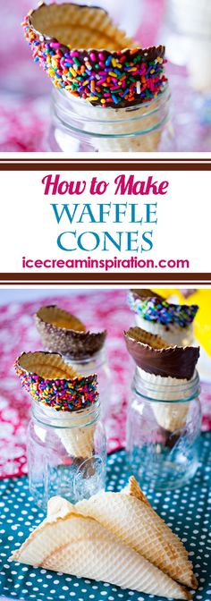 How to Make Waffle Cones. Everybody loves ice cream, but you can make it even better when you pair it with these fun waffle cones you can make yourself! Learn how to make these cones and impress everyone! How to make ice cream cones. Easy No Bake Desserts, Köstliche Desserts, Best Dessert Recipes, Frozen Desserts, Frozen Treats, Desert Recipes, Delicious Desserts, Waffle Cone Recipe, Waffle Cones