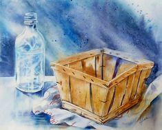 Galeries virtuelles aquarelles et acryliques - Anne Larose Crayons Pastel, Learn To Paint, Watercolour Painting, Acrylic Paintings, Watercolours, Petites Choses, Baskets, Still Life, Death