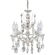 Madeleine Collection Mini Crystal Swag Chandelier Lighting, 4 Lights, W13.5' X H14', White