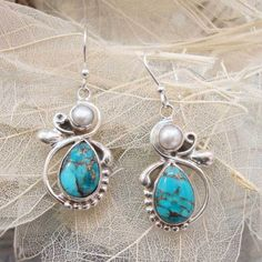 Gorgeous Pearl Or Copper Turquoise Handmade 925 Sterling Silver Earrings #Handmade #DropDangle