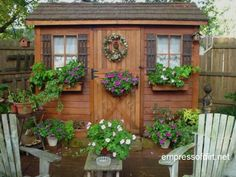 Garden shed with matching window boxes from the Gallery of Best Garden Sheds - lots of DIY ideas for decorating your shed or tiny house