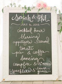 chalkboard wedding agenda http://www.weddingchicks.com/2013/11/25/national-park-wedding/