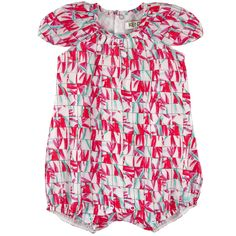 Printed cotton voile shortall with raglan sleeves - 105667