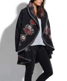 Loving this Black Floral Embroidered Wool-Blend Shawl Collar Coat on #zulily! #zulilyfinds