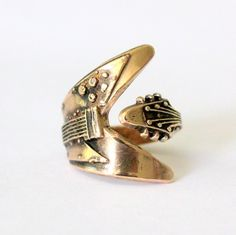 Flying V Guitar Ring in Solid Bronze. $55.00, via Etsy.