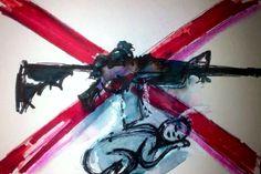 "'No More Guns! - They Kill Your Baby.' Mixed Media On Card. 4x6""Inch. #RosannaJacksonWright #Art #Drawing #AntiGun #StopGunViolence #MumsAgainstGuns #Abstract #Figurative #York #England #NYC #USA #Genoa #Italy #Mexico #Philippines  #Kingston #Jamaica #Bronx #Harlem"